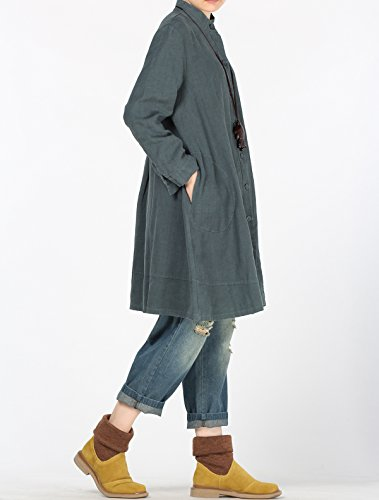 Manches Vogstyle Robe Poches Femme Longue Vert Chemise Femme Blouse Longues Chemisier Caseul Latrales 44qSF8xwr