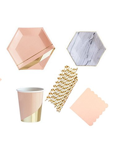 Pretty Peach Gold and Marble 69 Pcs Setting for 8 Deluxe Plates Napkins Cups Birthday Party Supply Wedding Bridal Shower Tableware ()
