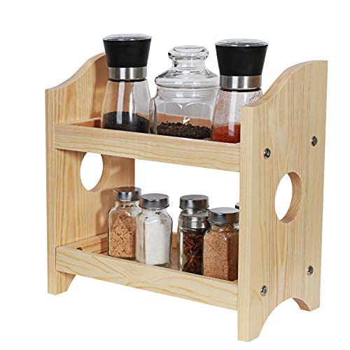 NEX 2 Tier Wood Spice Rack Organizer Countertop - Rustic Style