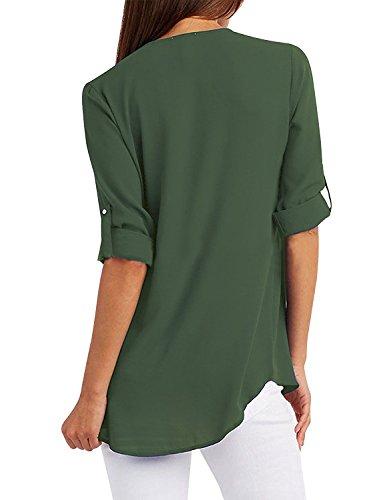 Profond Mode Femmes Chemisier Girl Lache en V V Vert Femmes 2018 Tops Zipper pour Chemises Blouse de Yuson Sexy Soie Dames Mousseline Blouse Casual USqx6w5dI5