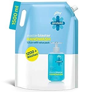 Godrej Protekt Germ Fighter Handwash Refill, Aqua – 1.5 L, 99.9% Germ Protection, with Glycerin & Coconut Oil
