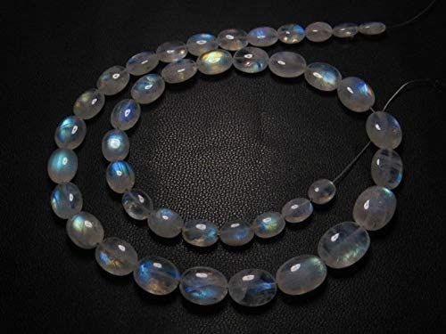 Jewel Beads Gems-Jewellery Awesome - AAAA - High Quality So Gorgeous - Rainbow MOONSTONE - Smooth Oval Briolett Blue Fire size - 6-11 mm - 14 Inches