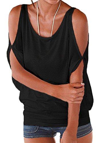 MISELON Women Ruffle Cold Shoulder Short Sleeve Blouse Tops (Black, - Shirt Ruffle Short Sleeve