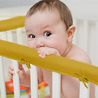 EXQ Home 3-Piece Baby Crib Rail Cover Set for 1 Front Rail and 2 Side Rails,Safe Kids Padded Crib Rail Protector from Chewing for Standard Cribs,Batting Inner for Baby Teething Guard(Spicy Mustard)