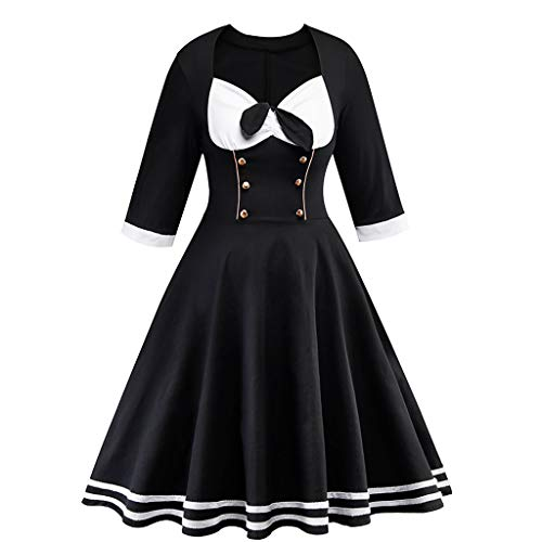 URIBAKE ♥️ Women's Retro Print 3/4 Sleeve Black Buttoned Vintage A-Line Country Cocktail Castle Maid Dress
