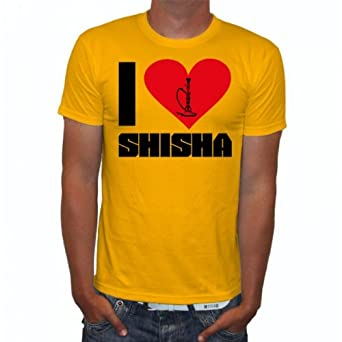 I love Shisha Fun Herren T-Shirt, Größe:S;Farbe:gelb