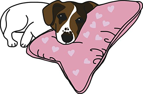 Cute Beagle Jack Russell Terrier Puppy Dog on Pink Valentine Pillow Cartoon Vinyl Sticker (12