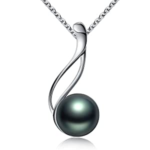 VIKI LYNN Tahitian Cultured Black Pearl Pendant Necklace 9-10mm Round Sterling Silver for Women