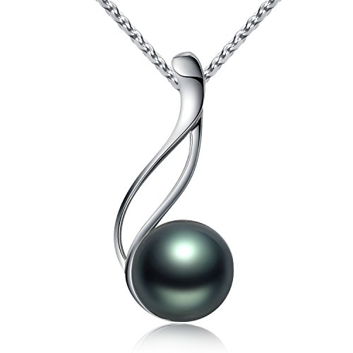 9 Pendant Sterling Silver Jewelry (Tahitian Cultured Black Pearl Pendant Necklace 9-10mm Round Sterling Silver Anniversary Gifts for Women - VIKI LYNN)