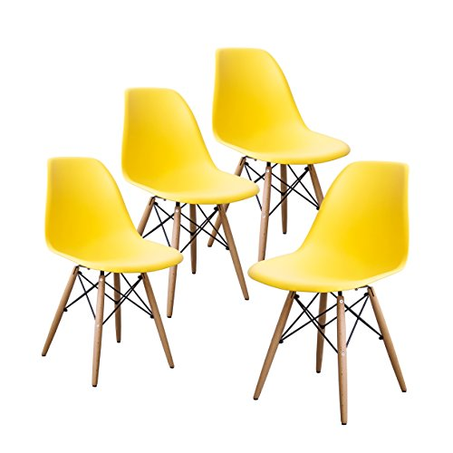 Buschman Set of Four Yellow Eames-Style Mid Century Modern Dining Room Wooden Legs Chairs