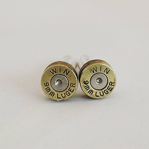 Winchester 9mm Bullet Shell Cufflinks - Brass Bullet Casing Cuff links with Primer