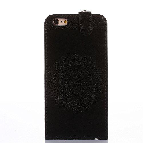 Für Apple iPhone 6 Plus (5,5 Zoll) Tasche ZeWoo® Ledertasche Kunstleder Brieftasche Hülle PU Leder Schutzhülle Case Cover - GH020 / schwarz