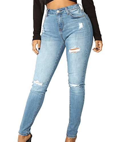 Pantalones De Mezclilla Mujeres Estilo Clásico Cintura Media Slim Fit Desgarro Vaqueros Azul Claro