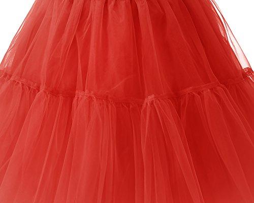 Gonne Breve Sottoveste Tutu Rete Red Bridesmay Vintage Retro Donna 50s Sottogonna qt0zH