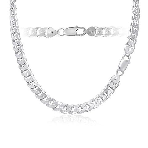 8mm 925 Sterling Silver Flat Cuban Link Curb Chain Bracelet 22 inch - Flat Curb Link Chain