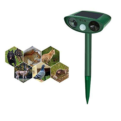 Solar Dog Cat Repellent Ultrasonic, Outdoor Animal & Pest Repeller, Sonic cat repellent, Dog Repellent, Squirrels Repellent, Rodent Repellent, Birds (Grean) (Green) (Ultrasonic Cat)