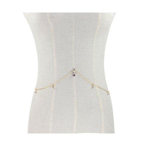 Hot Beach Decors Crystal Body Piercing Chain Belly Navel Jewelry Dangle Waist Chain ()