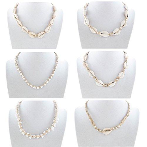 Cowrie Shells Hemp Necklaces for Women, Men, Girls, Teens | Natural Hemp Cord | Handmade | 6 Piece Set | Unisex | US seller