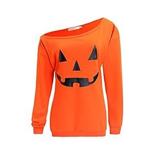 lymanchi Women Slouchy Shirts Halloween Pumpkin Long Sleeve Sweatshirts Pullover