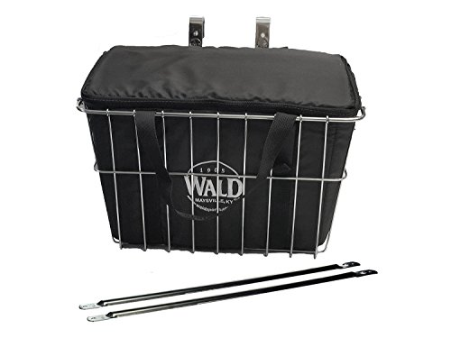 Wald Deep Sized Grocery Front Handlebar Bike Bicycle Basket with Insulated Grocery Basket Bag by Wald