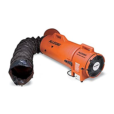 Allegro Industries 953825 Plastic Compaxial Explosion-Proof Blower, AC with 25' Ducting and Canister Assembly, 8""