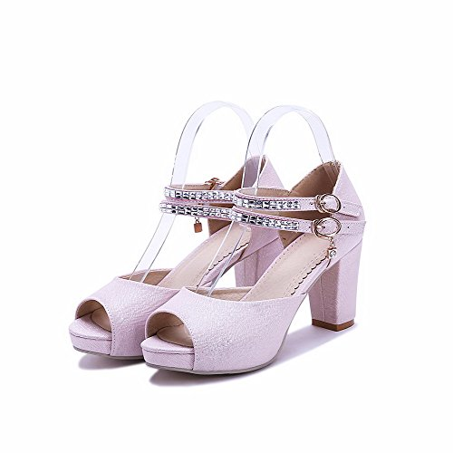 AgooLar Women's Peep Toe High Heels Soft Material Solid Buckle Sandals Pink DinrX