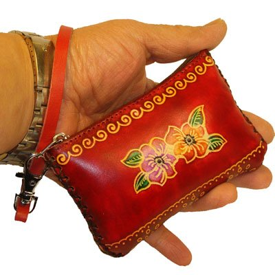 Cute Small Size coin Purse/Cards Holder,Real Leather and well Made,Flower and Leaf Embossed (Red), Bags Central