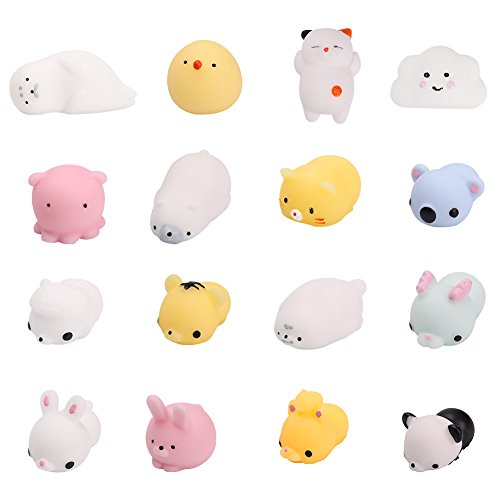 Chige Mochi Squishy Toys Squishies Mini Mochi Animals Slow Rising Jumbo Cream Scented Charms Kawaii Toys For Kids and Adults Stress Relief and Time Killing - Random Color - 16PCS (Mini Mochi Animals)