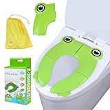 Travel Folding Portable Potty Training Toilet Seat Cover Liner Upgrade Non Slip Silicone Pads with Carry Bag for Babies, Toddlers and Kids (Frog)