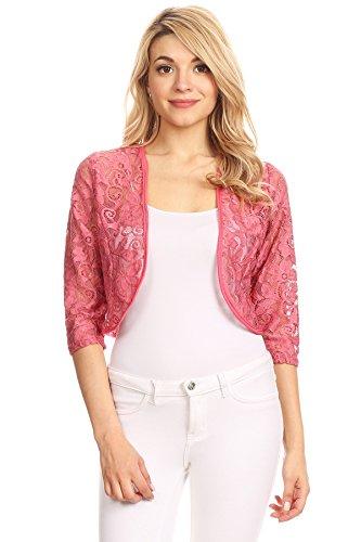 (Women's Regular Plus Size Sheer Lace Shrug Cardigan Bolero. Made in USA. (M, Dusty Pink))