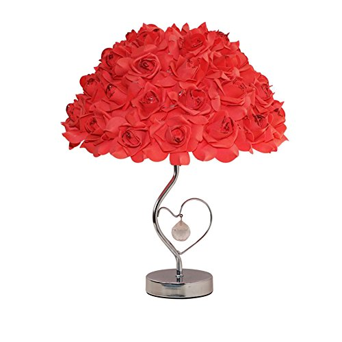 (LOVFASHION LED Table Lamps - Adjustable Rose Flower Desk Lamp|Wedding Living Room Bedroom Party Home Decor with White LED Lights Red)