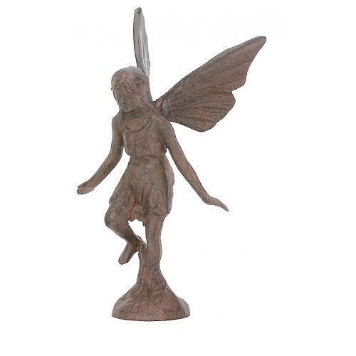 Cast Iron Playful Fairy Garden Statue Angel Pixie (Outdoor Iron Garden Statues)