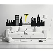 """Gotham City - Boy Girl Room - Mural Wall Decal Sticker For Home Car Laptop (Wide 30"""" x 10"""" Height)"""