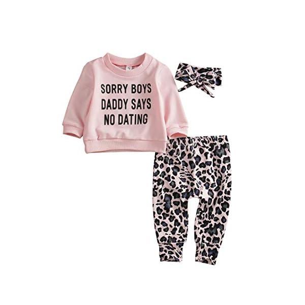 Newborn Baby Girls Clothes Daddy Saying Top Printed T-Shirt Leopard Pants+Headband...