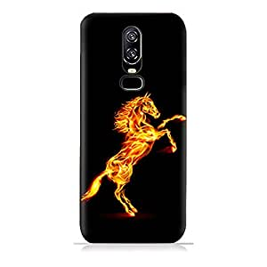 AMC Design OnePlus 6 TPU Silicone Protective Case with Horse On Flame Design
