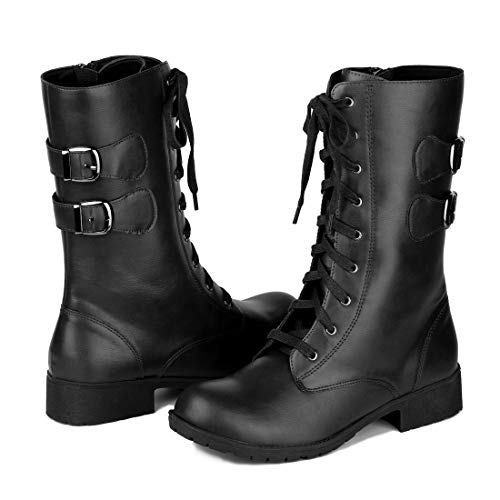 Allegra K Women's Zip Lace Up Black Mid Calf Combat Boots Christmas Boots -9 M US