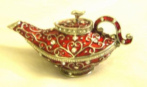 Vintage Red Enamel Aladdin Teapot - Jewelry Trinket Box (S) (JF8227)