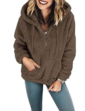Naliha Women Faux Fur Coats Hoodie Winter Casual Fuzzy