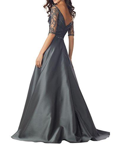 Brautmutterkleider Damen Langarm A Linie Bodenlang Charmant Rock Damen Dunkel Festlichkleider V Ausschnitt Abendkleider Rot Partykleider UwIBR