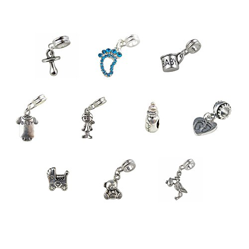 Set of 10 Baby Boy Charms and Beads Includes Boy, Rhinestone Blue Foot, Stork, Pacifier, Baby Bottle, Carriage, Onesie, Baby Cup, Teddy Bear
