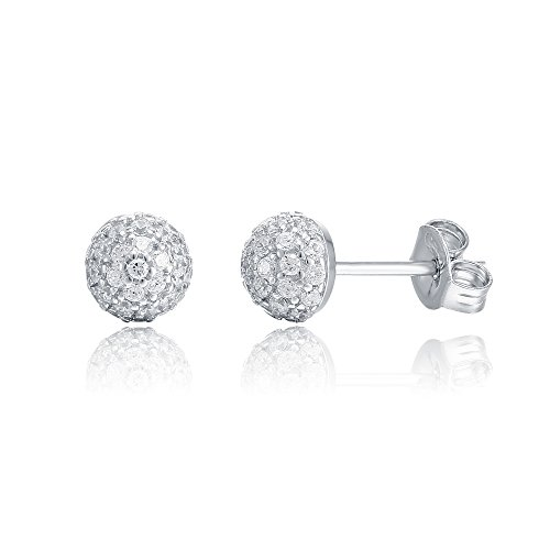 [PAVOI 14K Gold Plated CZ Simulated Diamond Earring Globe Stud Earrings (White)] (Best Hollywood Costumes Designers)