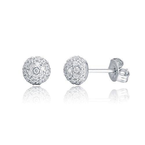 [PAVOI 14K Gold Plated CZ Simulated Diamond Earring Globe Stud Earrings (White)] (Girls Jade Princess Costumes)