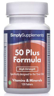Multivitaminas Fórmula 50 Plus - 120 comprimidos - 4 meses de suministro - Multivitamínico específico para mayores de 50 - SimplySupplements: Amazon.es: ...