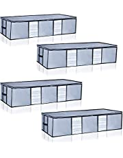 Underbed Storage Bags Containers Foldable [4 Pack], Storage Organizers with Clear Windows and Carry Handles, for Blankets Clothes Comforters, Breathable Zippered Organizers, 33.5 x 17.7 x 8 in, Light Grey