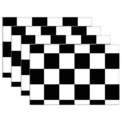 Yilooom Placemats Set of 6,Black and White Checkerboard Canvas Table Mats Washable Fabric Placemats for Kitchen Dining Table Decoration 12 X 18 Inches