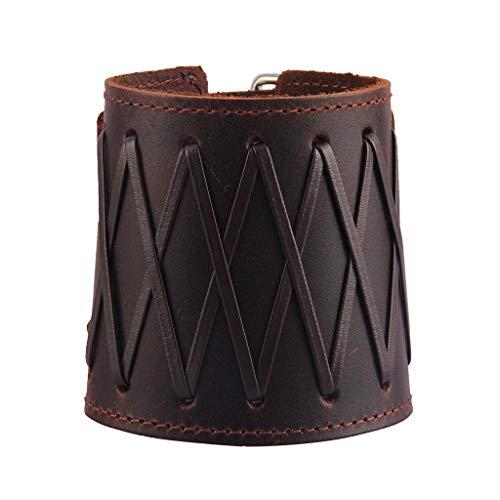 Jenia Punk Leather Cuff Bracelet Adjustable Straps Wrap Bracelets Arm Armor Cuff Gothic Leather Wristbands for Men, Boy, Women