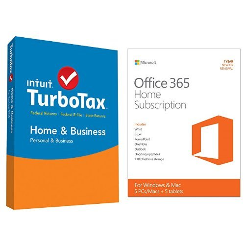 TurboTax Home & Business 2015 Federal + State Taxes + Fed Efile Tax Preparation Software - PC/MacDisc with Microsoft Office 365 Home 1 Year | 5 PC or 5 Mac Key Card (Business Intuit Cards)