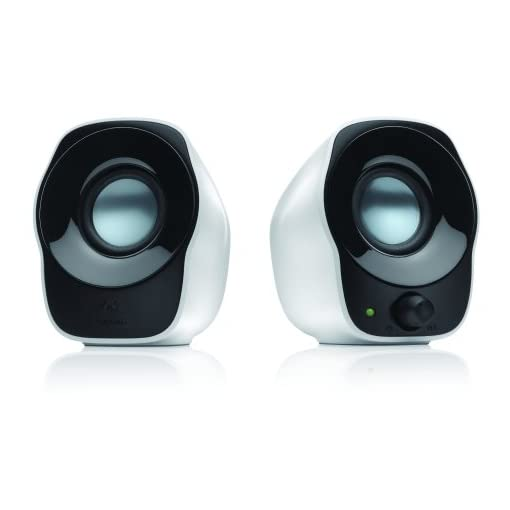 Logitech Z120 Compact PC Stereo Speakers, 3.5mm Audio Input, USB Powered, Integrated Controls, Cable Management Solution, Computer/Smartphone/Tablet/Music Player – White/Black