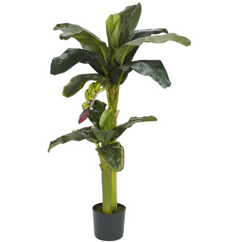 Real Looking 5'+3' Banana Silk Tree w/Bananas Green Colors - Silk Tree (Banana Tree Silk 3')