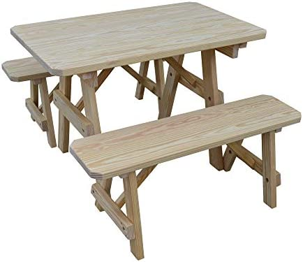 Outdoor 4 Foot Pine Picnic Table with 2 Benches Detached – Stained Oak – Amish Made USA